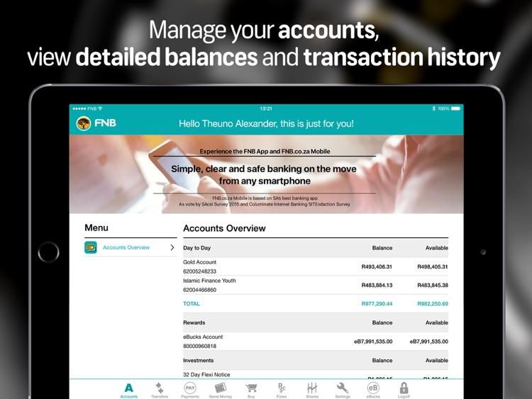 FNB Banking App for Tablet