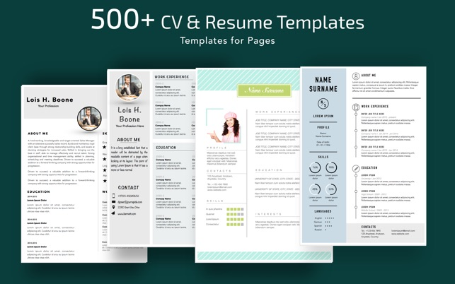 Resume CV Templates For Pages On The Mac App Store