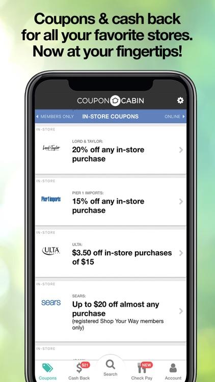 CouponCabin: Cash Back & Deals