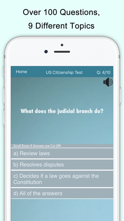 Citizenship Test with Audio screenshot-1