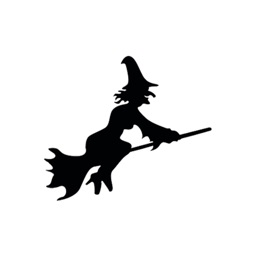 Witch on a broomstick sticker pack