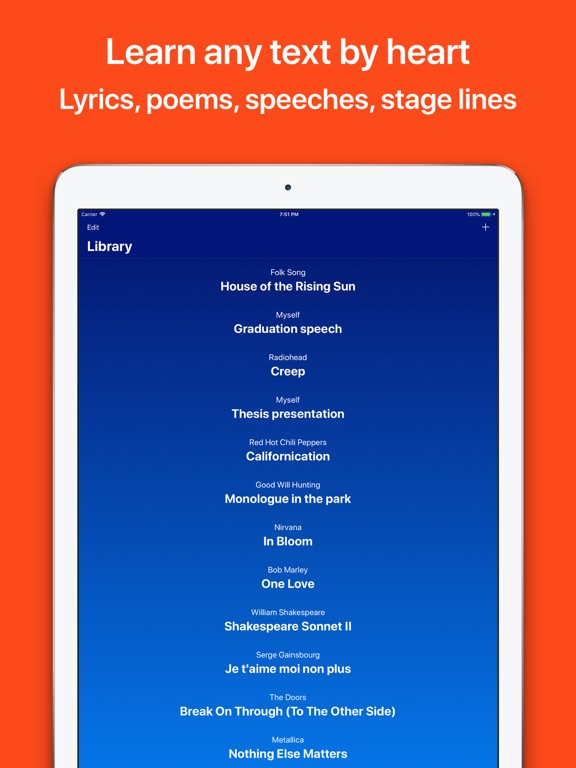 Memorize texts, lyrics, poems Screenshots