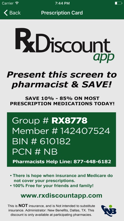 Prescription Rx Discount Card