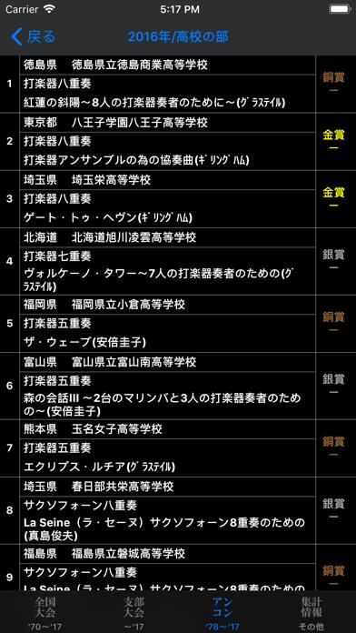 全日本吹奏楽コンクールデータベース for iPhone ScreenShot2