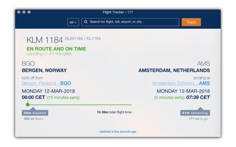 Flight status tracker скриншот программы 1