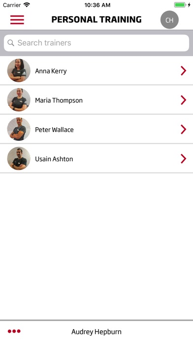 Screenshot of MyFitnessFirst App