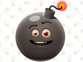 Friends funny animated black bomb emoji with various expressions of emotions has been turned into a iMessage Sticker