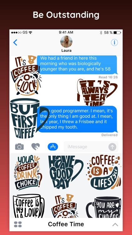 Coffee Time Fun Stickers App screenshot-3