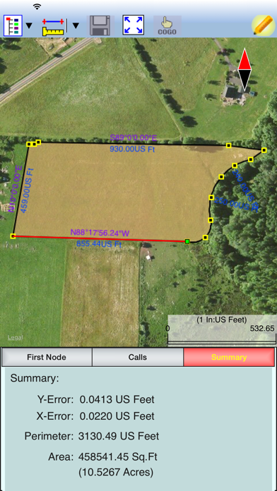 Deed Calls - Area - Perimeter screenshot two