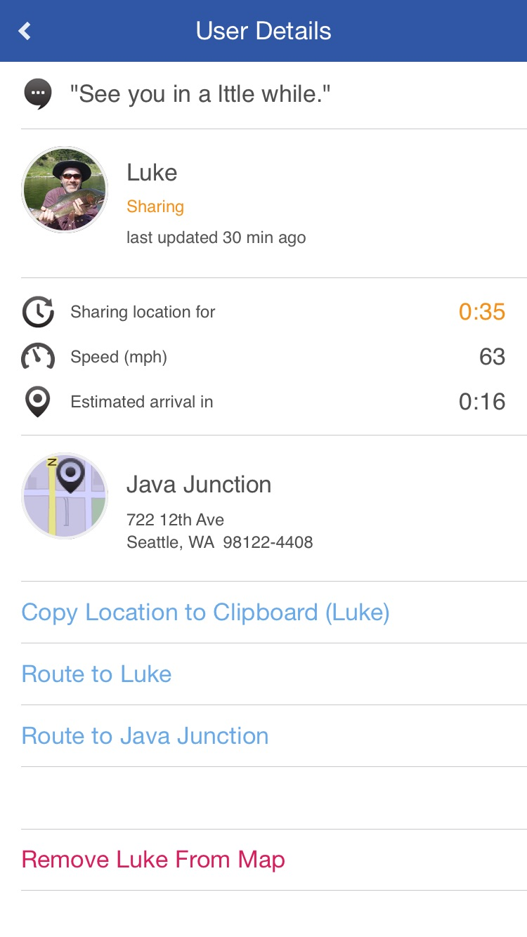 Glympse -Share your location Screenshot