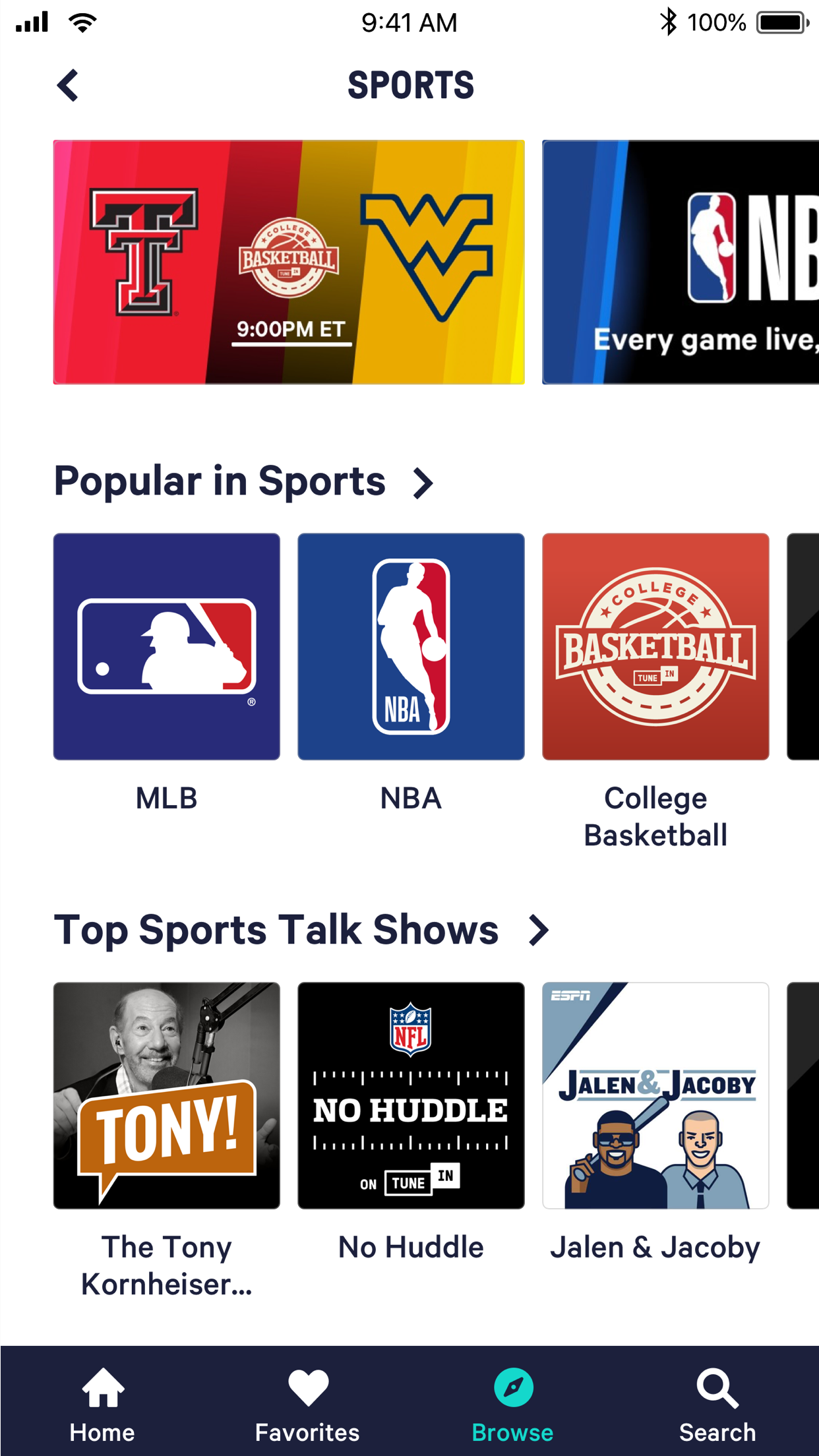 TuneIn: Radio, NFL & Podcasts Screenshot