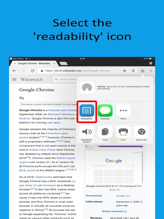 Readability for Chrome Screenshots