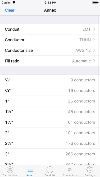 Conduit Fill Calculator