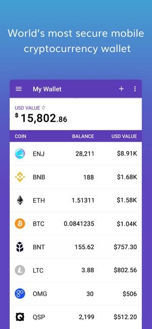 App Store에서 제공하는 Enjin Crypto Wallet Eth Btc