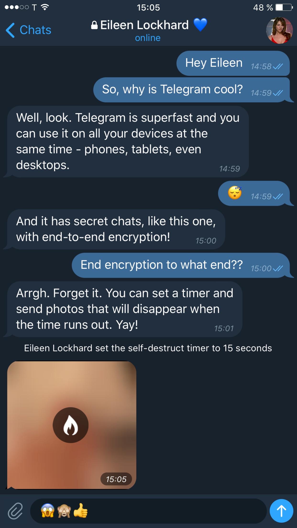 Screenshot do app Telegram X