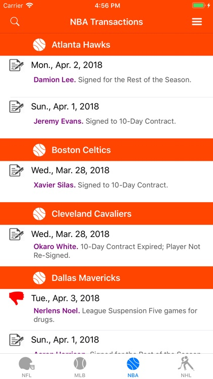 Sports Wire Transactions screenshot-2