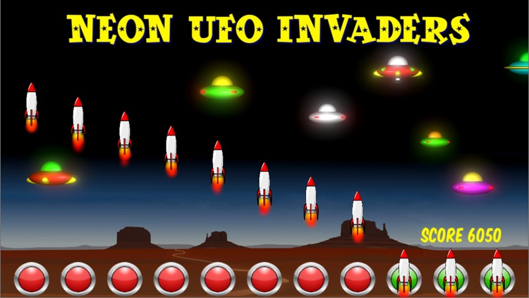 Neon UFO Invaders from Space