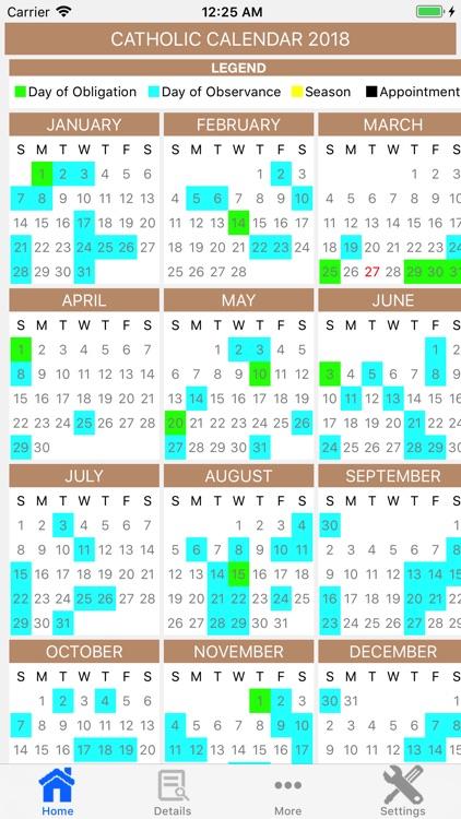 Catholic Calendar 2018 Pro