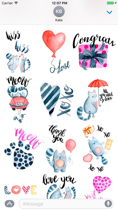Love Cats Couple Stickers Pack
