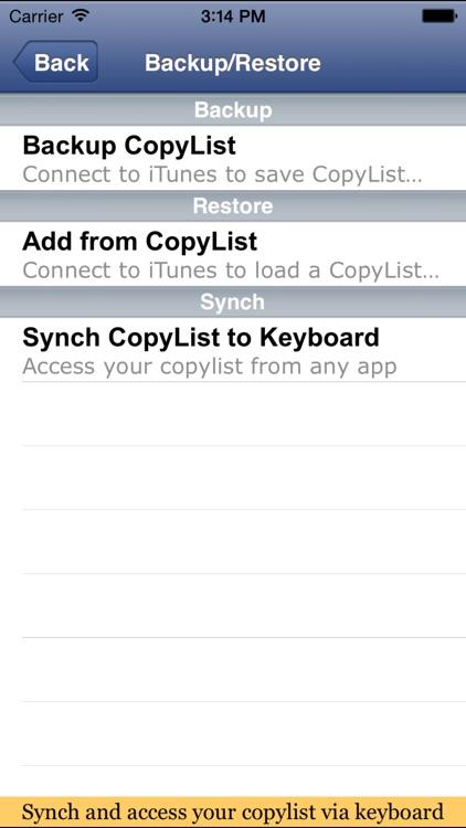 CopyListK shortcuts utility screenshot-3