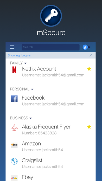 Password Manager - mSecure Screenshot