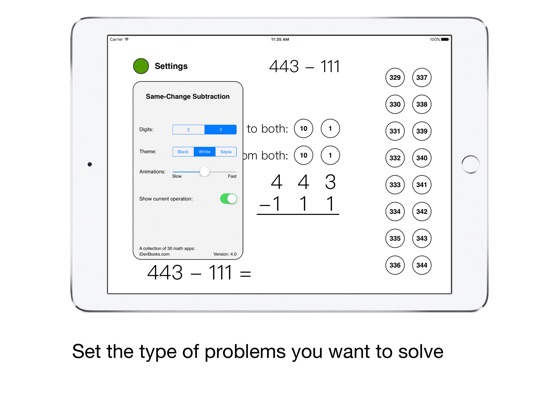 Same-Change Subtraction Screenshots