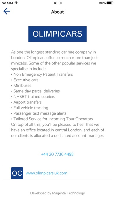 Olimpicars London minicabs screenshot three