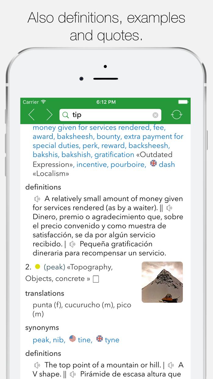 English Spanish Dictionary G. Screenshot