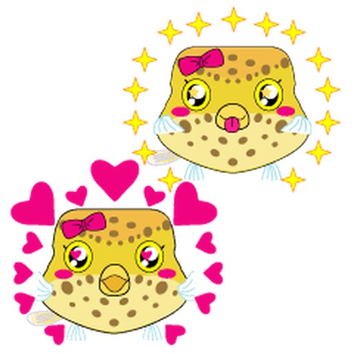 Cute Baby Boxfish Emoji Stickers