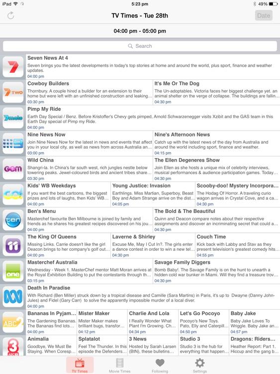 TV Guide Australia for iPad by eBroadcast