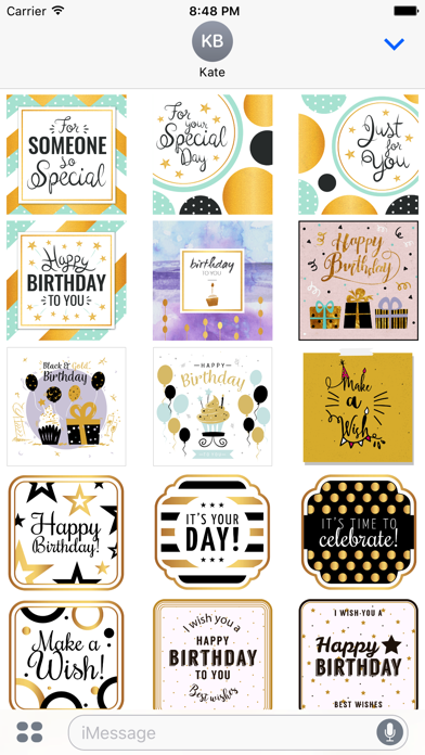 Birthday Card - Collection of Gold Style Stickers screenshot 1