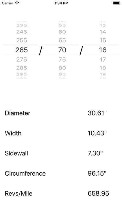 TireSizer Tire Size Calculator