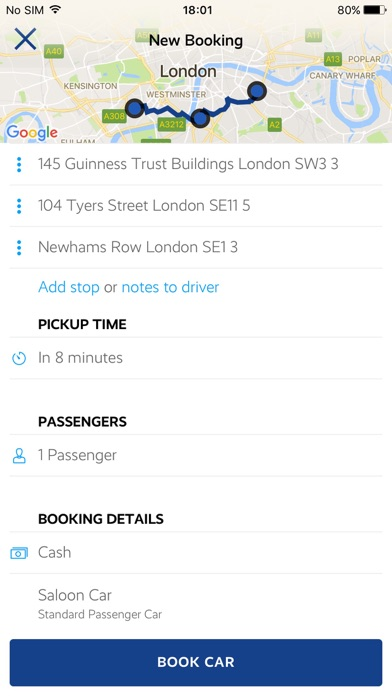 Olimpicars London minicabs screenshot two