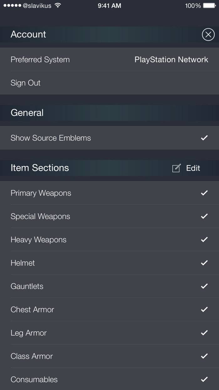 Loadouts for Destiny Screenshot