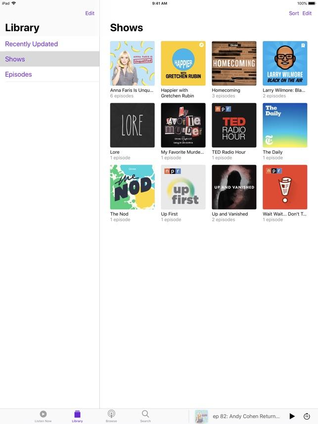 Podcasts Screenshot