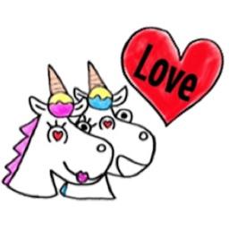 Cute Couple Unicorn Sticker