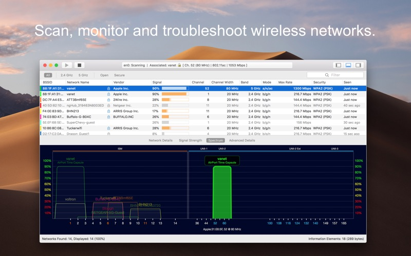 WiFi Explorer Screenshots