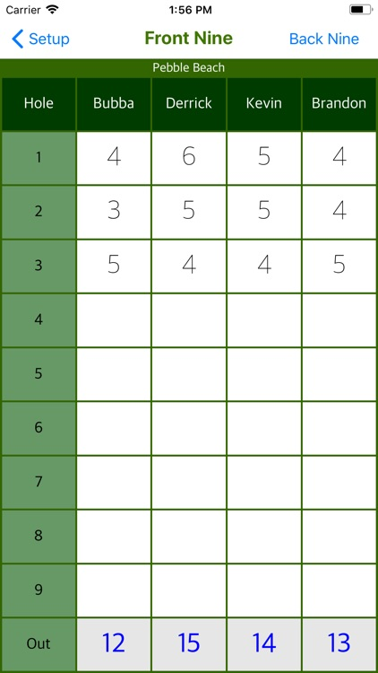 Bubba's Golf Scorecard screenshot-3