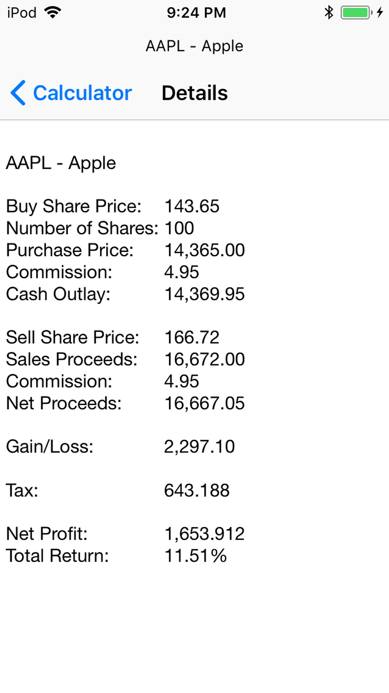 SSPI Stock Calculator Screenshot