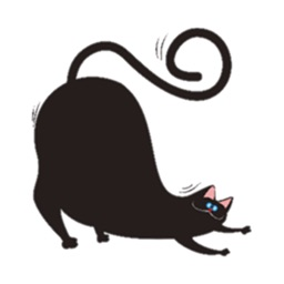 Chubby Black Cat Emoji Sticker