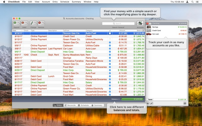 checkbook app for iphone and mac