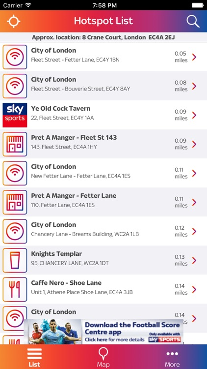 Sky WiFi Finder – with Sky Sports hotspot venues