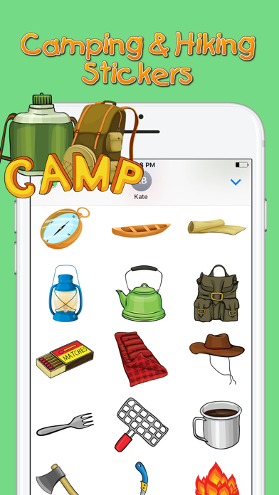 Screenshot of Camping & Hiking Stickers App