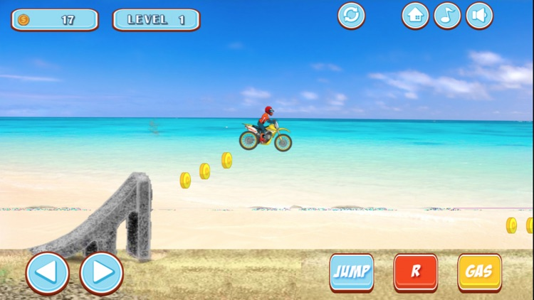 特技摩托骑手-海边的摩托特技表演