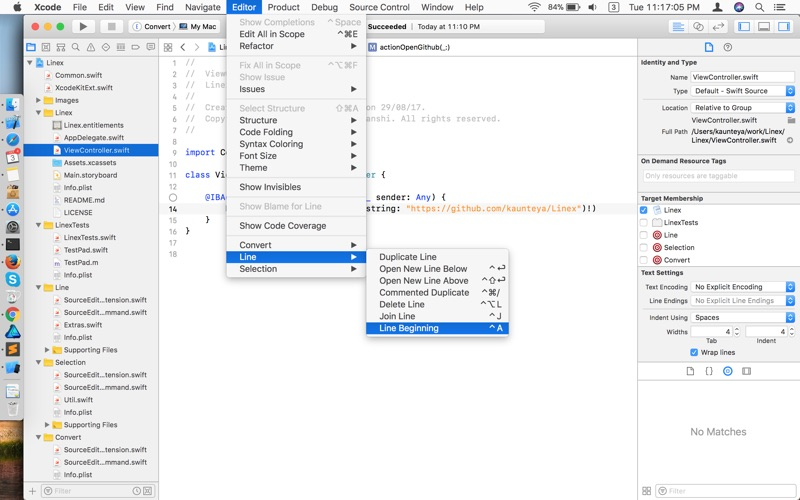 LineX - for Xcode скриншот программы 1