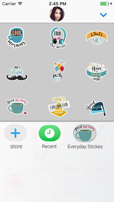 Screenshot of Everyday Animated Text Sticker App