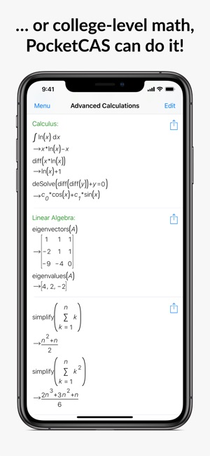 ‎PocketCAS: Mathematics Toolkit