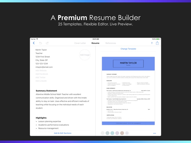 Resumes by Nobody - Resume Builder, 25 Templates