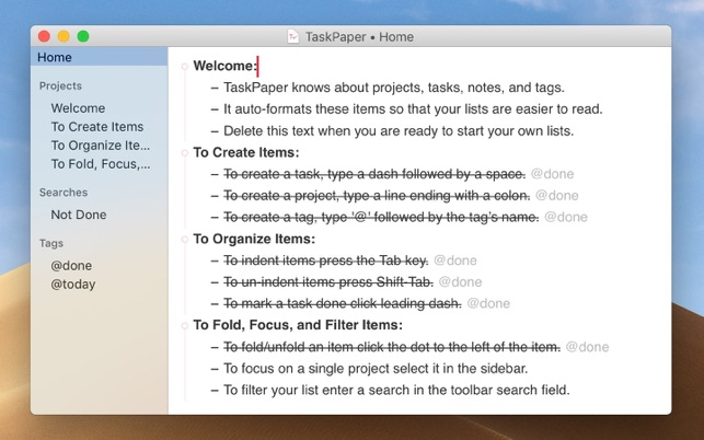 TaskPaper – Plain text to-dos Screenshot