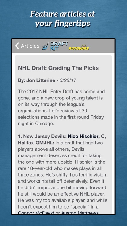 RotoWire Hockey Draft Kit 2017